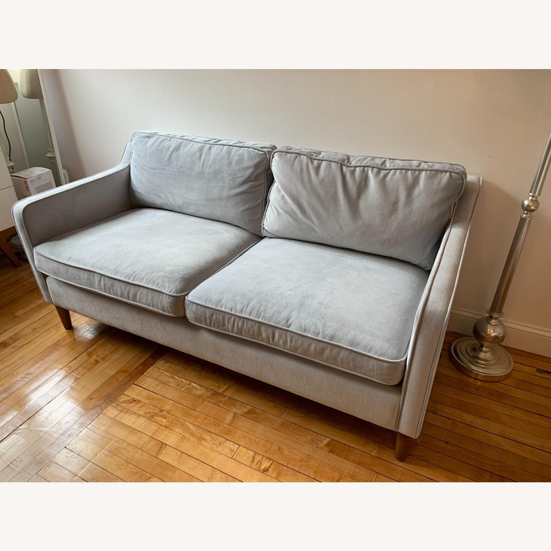 West Elm Paidge Sofa, Light Blue Velvet - image-1