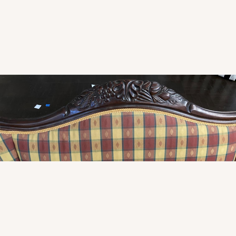 Plaid Victorian Sofa - Gold, Maroon & Green - image-11