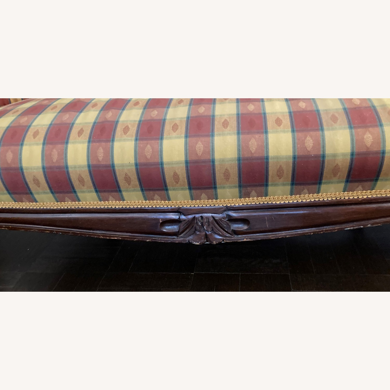 Plaid Victorian Sofa - Gold, Maroon & Green - image-7