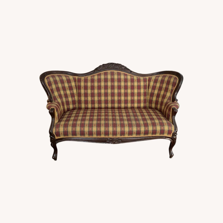 Plaid Victorian Sofa - Gold, Maroon & Green - image-0