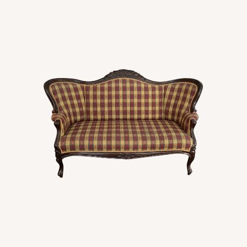 Used Plaid Victorian Sofa - Gold, Maroon & Green for sale on AptDeco