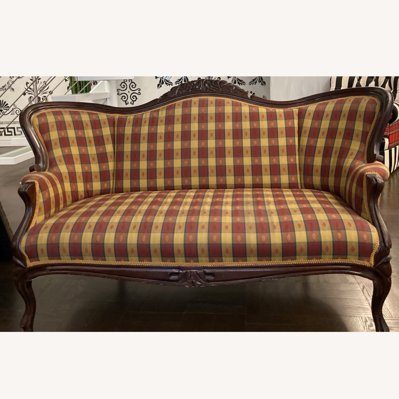 Plaid Victorian Sofa - Gold, Maroon & Green - image-15