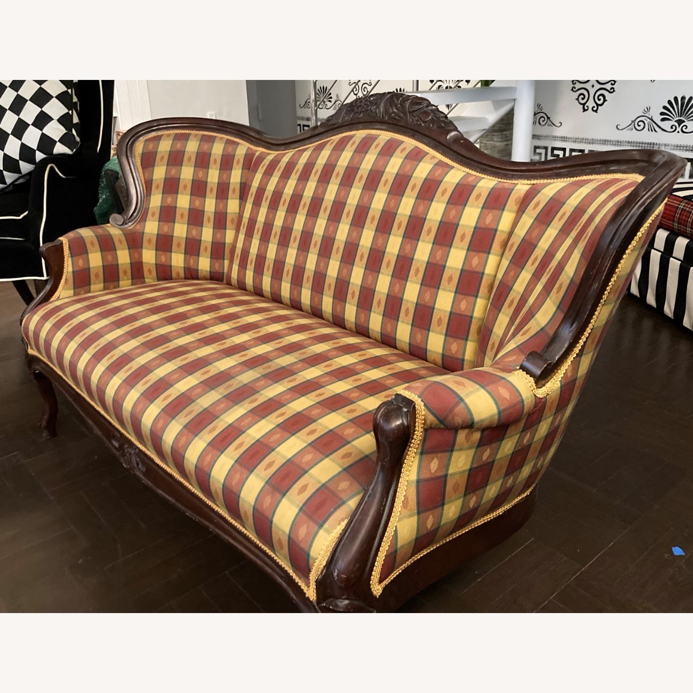 Plaid Victorian Sofa - Gold, Maroon & Green - image-3