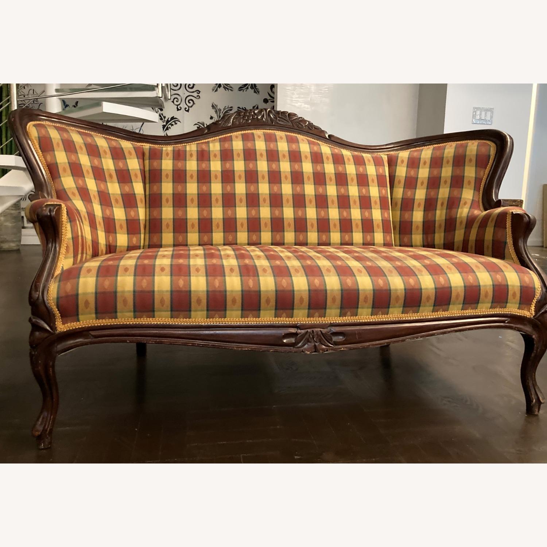 Plaid Victorian Sofa - Gold, Maroon & Green - image-12