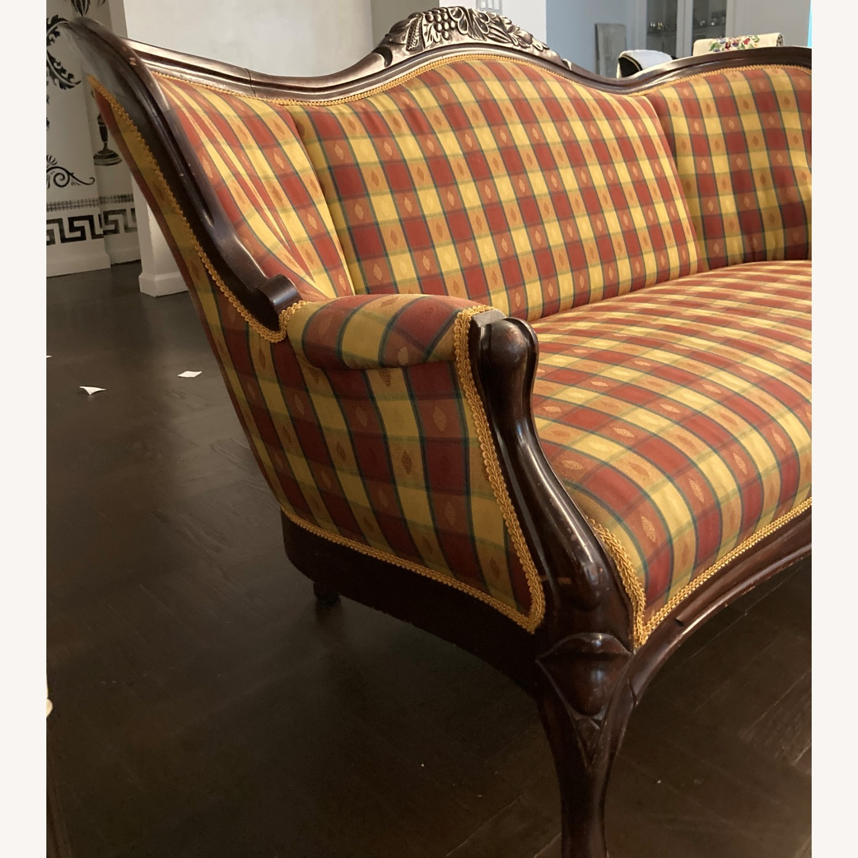Plaid Victorian Sofa - Gold, Maroon & Green - image-13
