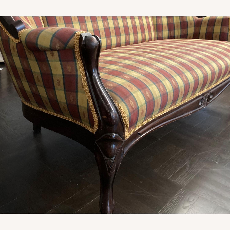 Plaid Victorian Sofa - Gold, Maroon & Green - image-1