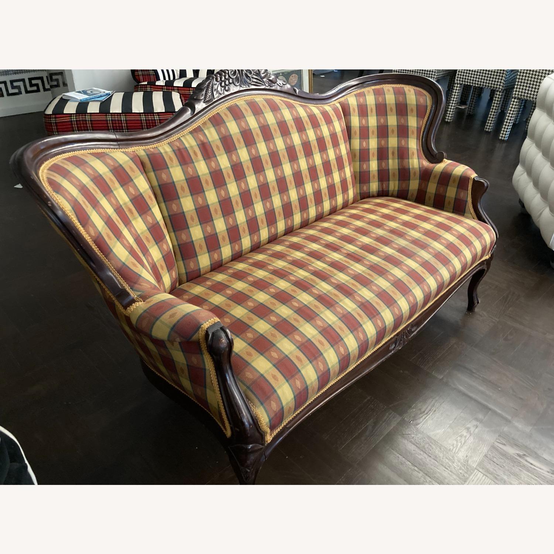 Plaid Victorian Sofa - Gold, Maroon & Green - image-2