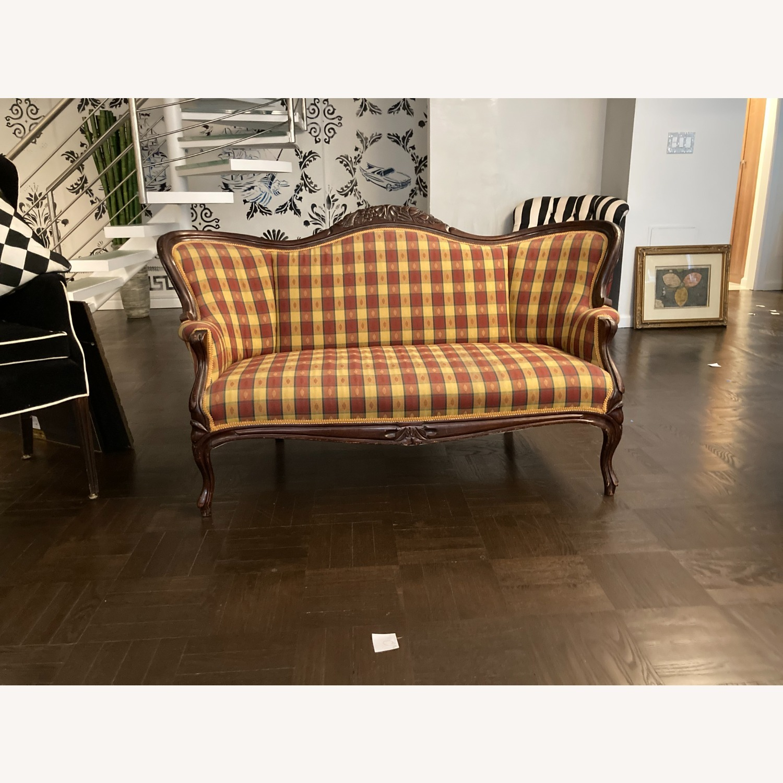 Plaid Victorian Sofa - Gold, Maroon & Green - image-4