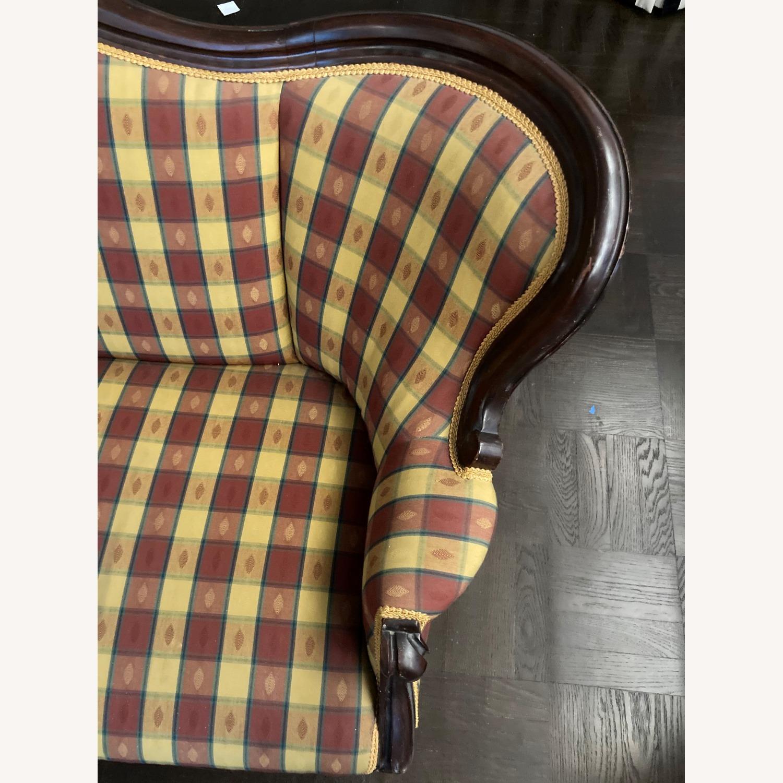 Plaid Victorian Sofa - Gold, Maroon & Green - image-9