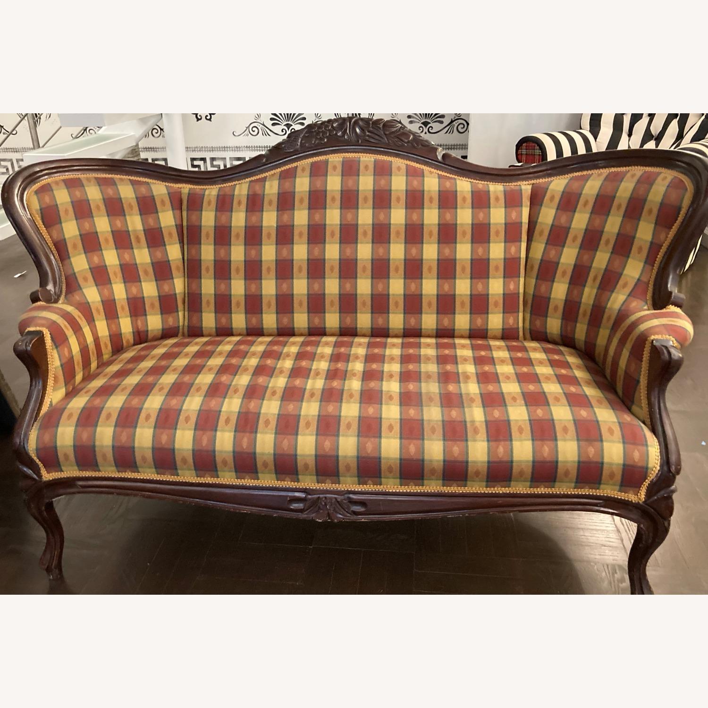 Plaid Victorian Sofa - Gold, Maroon & Green - image-14