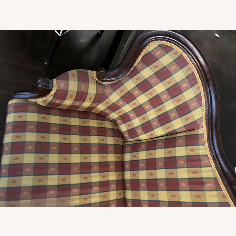 Plaid Victorian Sofa - Gold, Maroon & Green - image-10