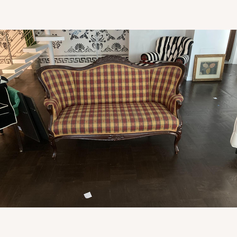 Plaid Victorian Sofa - Gold, Maroon & Green - image-5