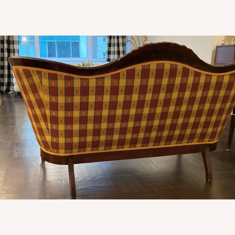 Plaid Victorian Sofa - Gold, Maroon & Green - image-6