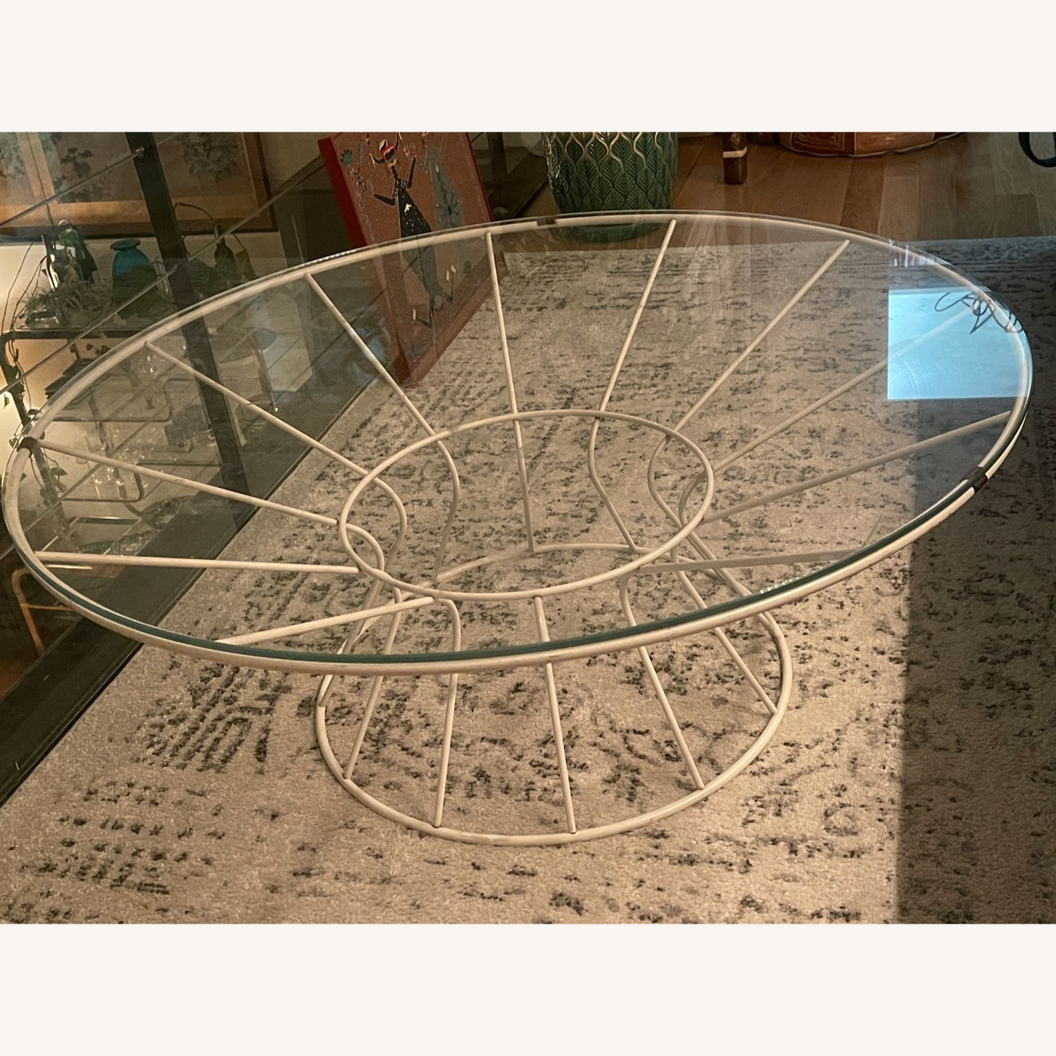 White Iron and Glass Coffee Table - image-1