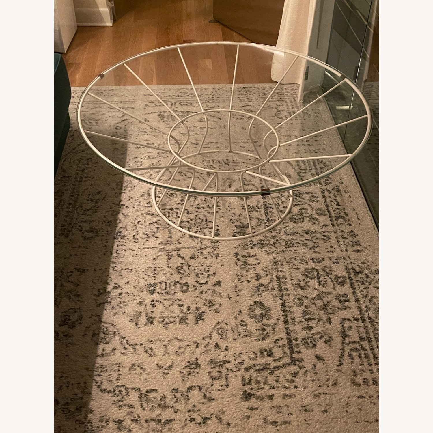 White Iron and Glass Coffee Table - image-0