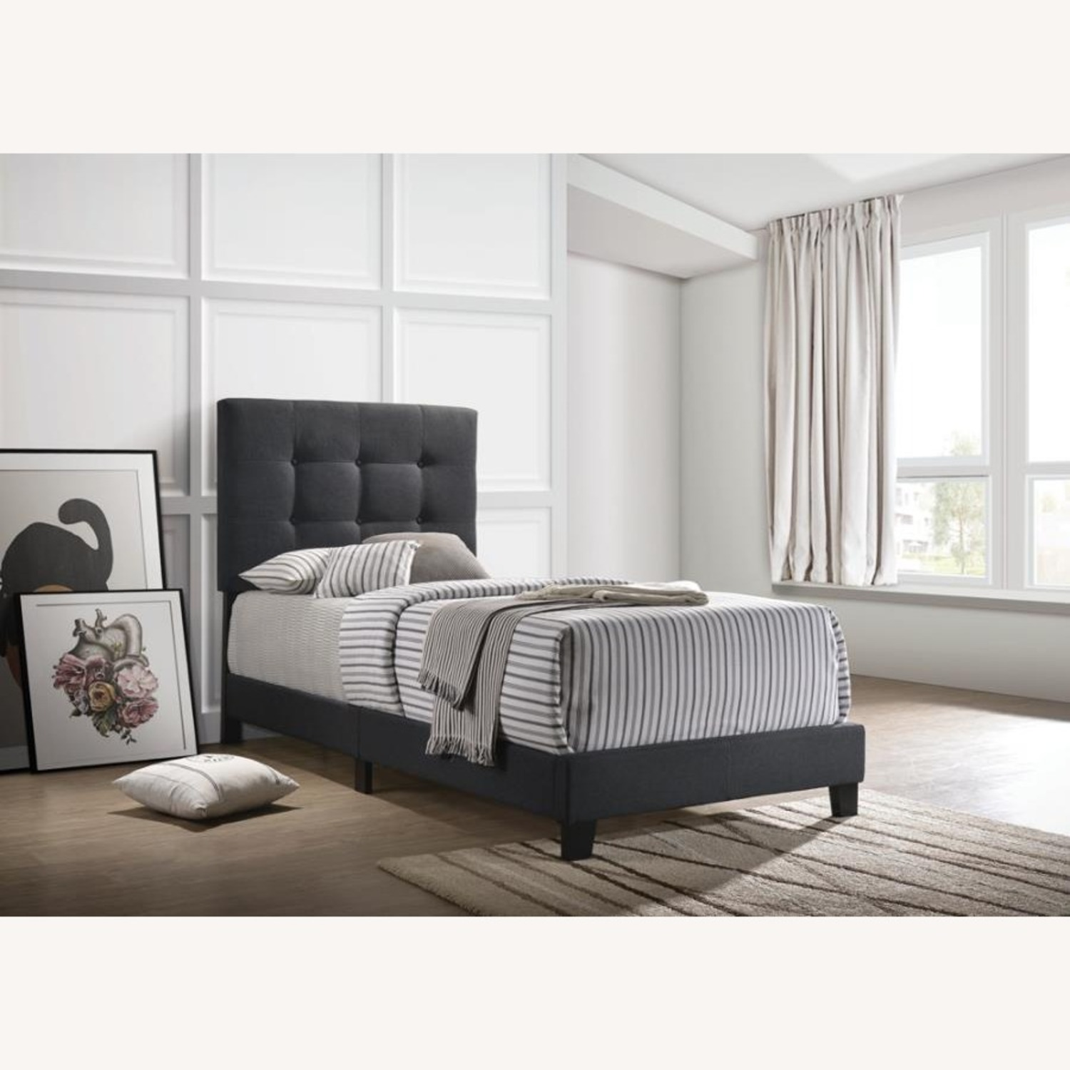 Twin Bed In Charcoal Fabric W/ Button Tufting - image-3