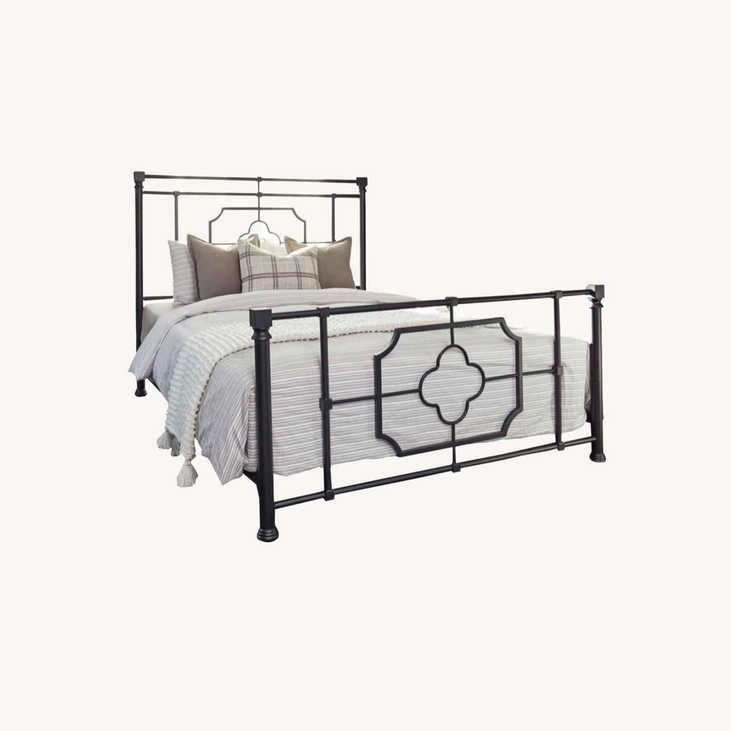 Queen Bed In Weathered Black Metal Finish - image-5
