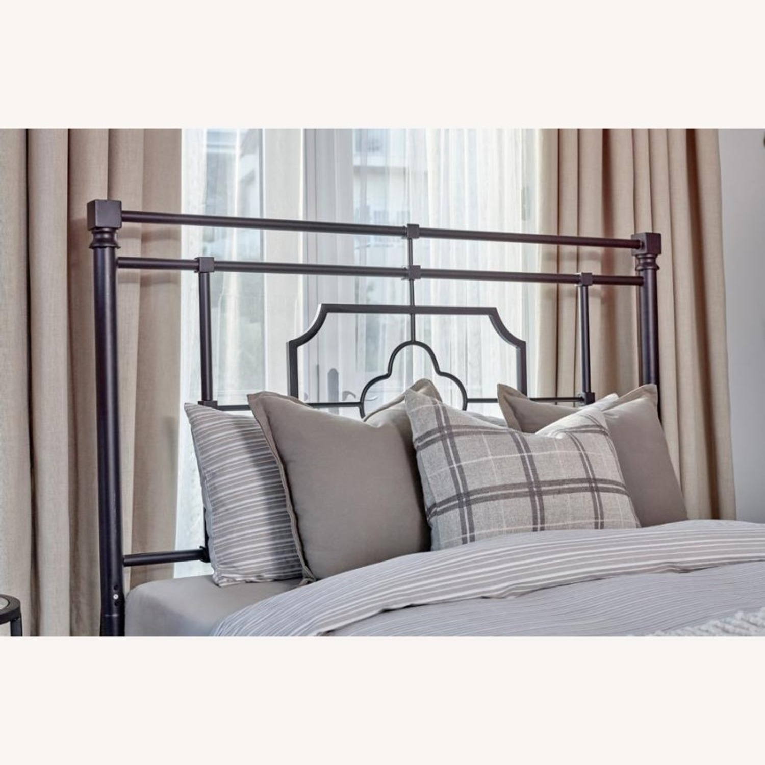 Queen Bed In Weathered Black Metal Finish - image-1
