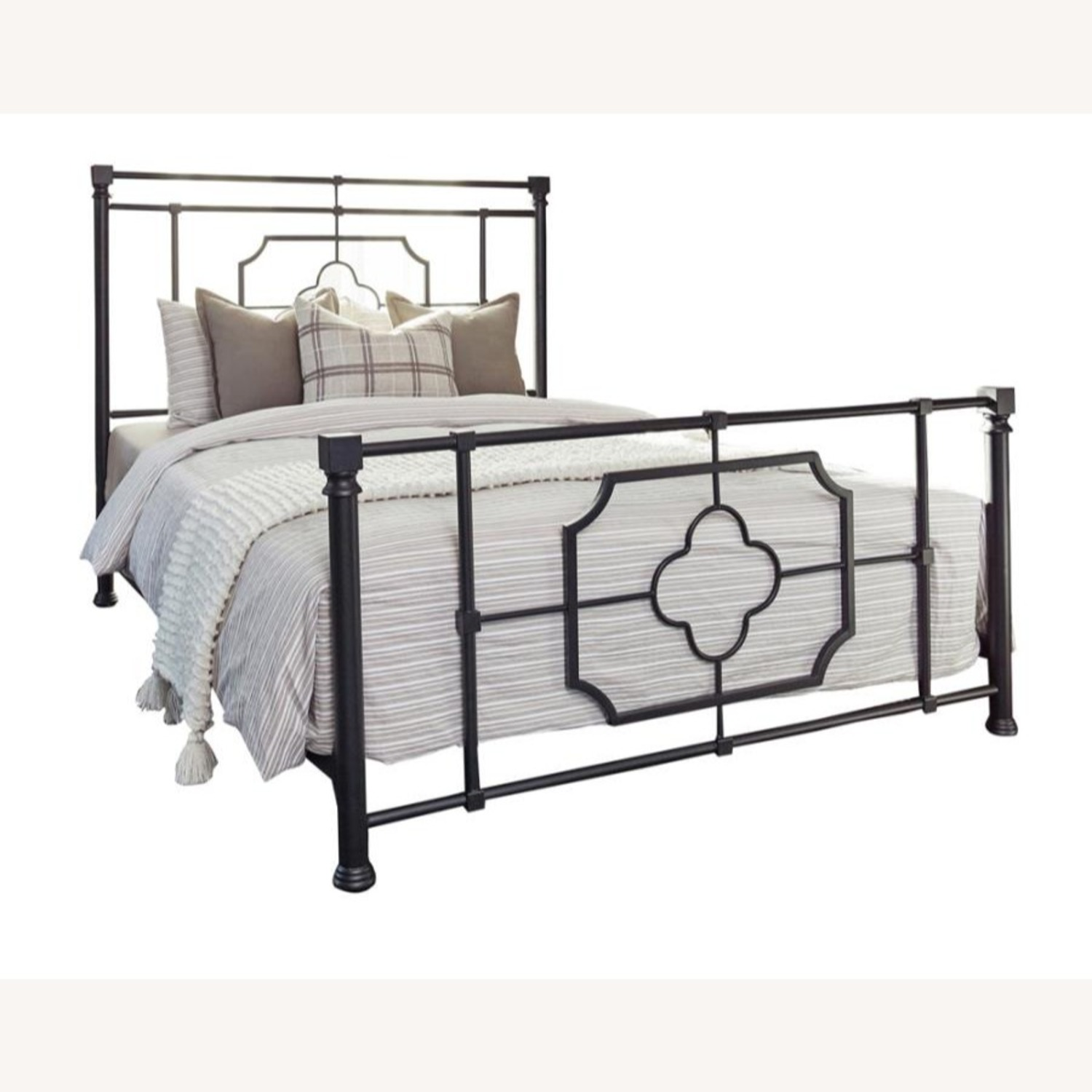 Queen Bed In Weathered Black Metal Finish - image-0