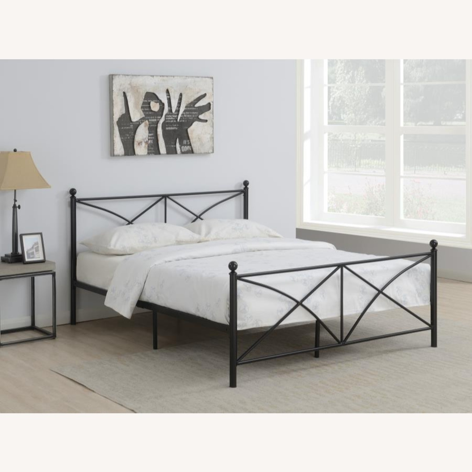 Queen Bed In Matte Black Powder Coated Finish - image-2