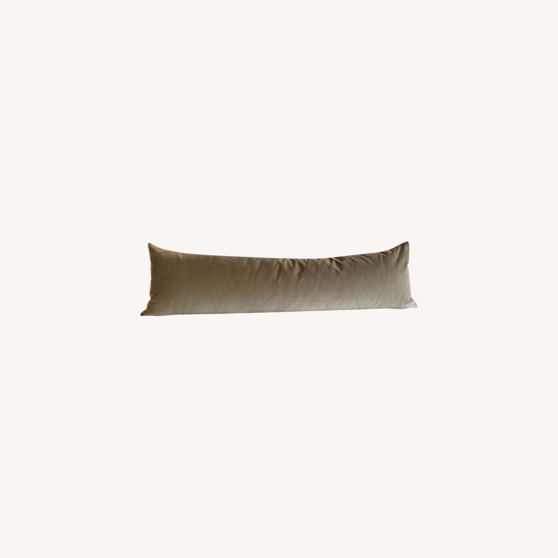 XL Lumbar Pillow - Mohair Velvet // Stone - image-0