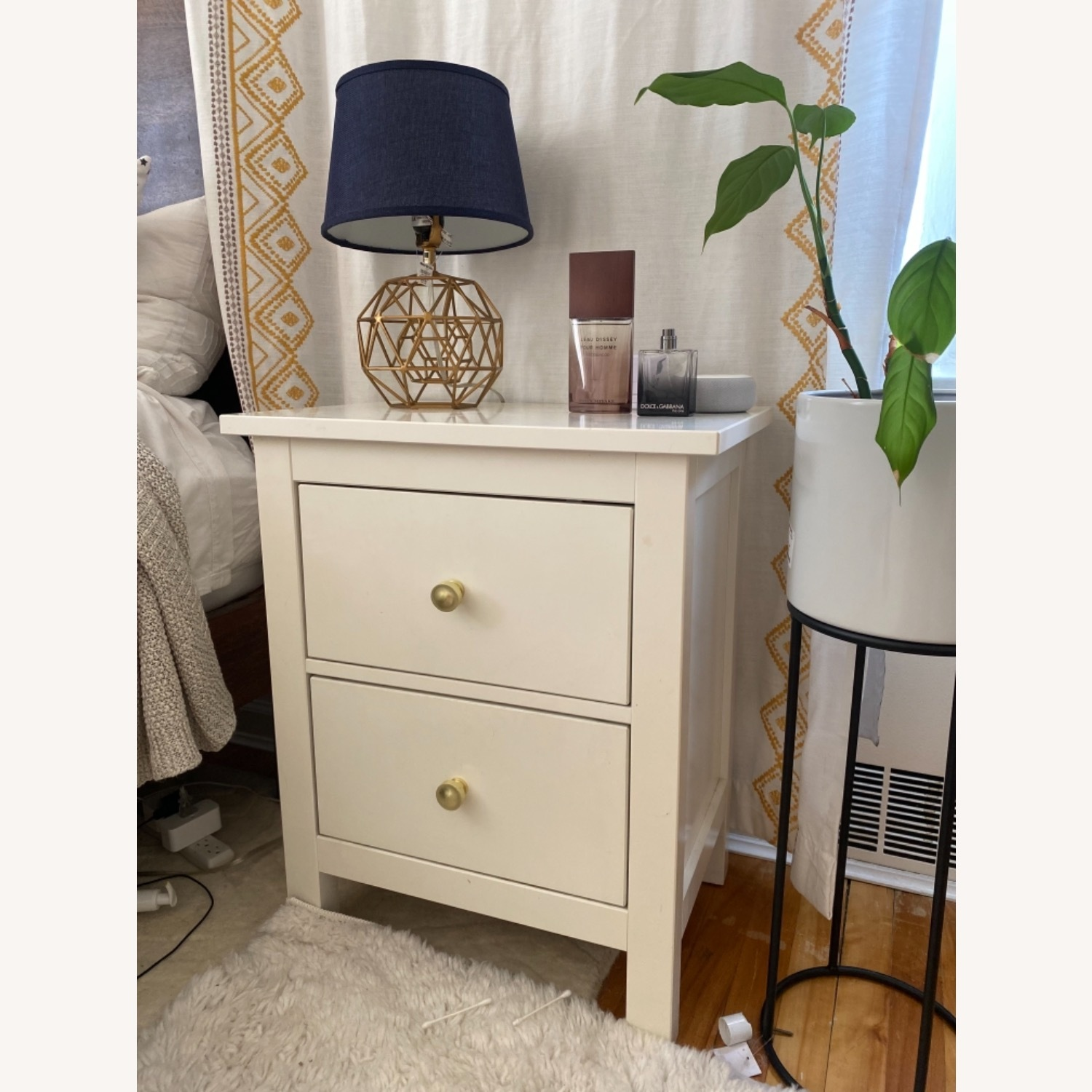 IKEA Hemnes Nightstand with Gold Knobs - image-2