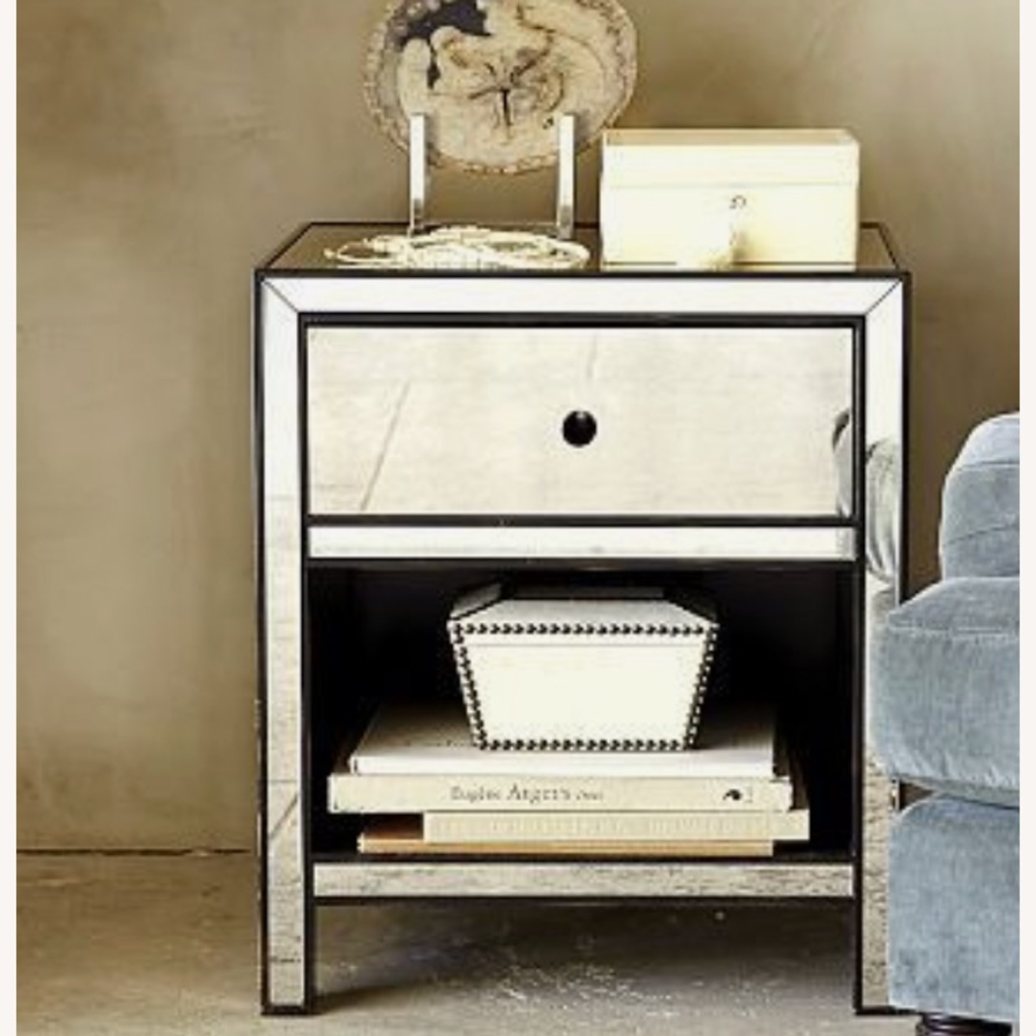 Pottery Barn Mirrored Bedside Tables - image-1