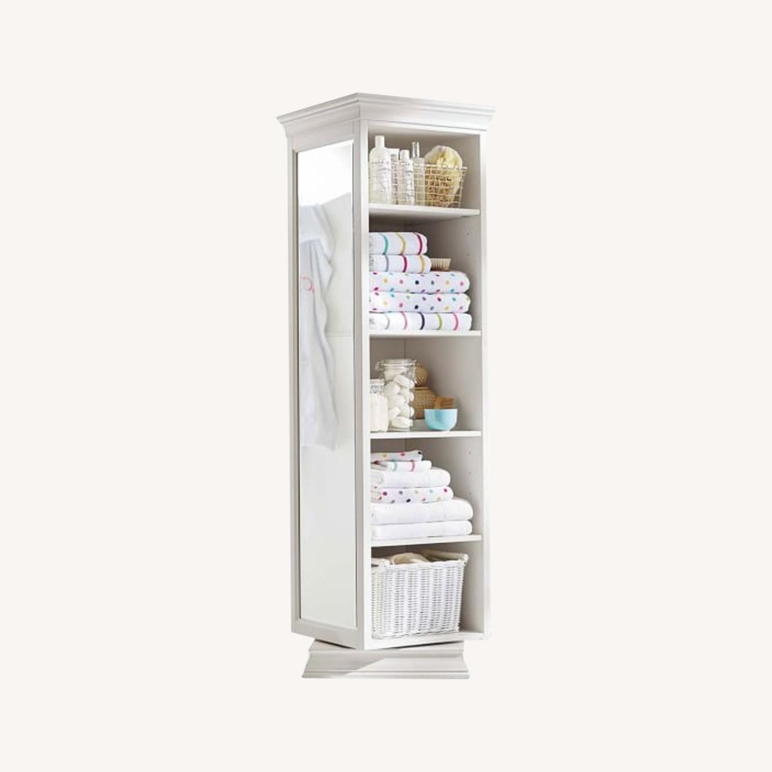Pottery Barn Display-It Rotating Bookcase w/Mirror - image-0