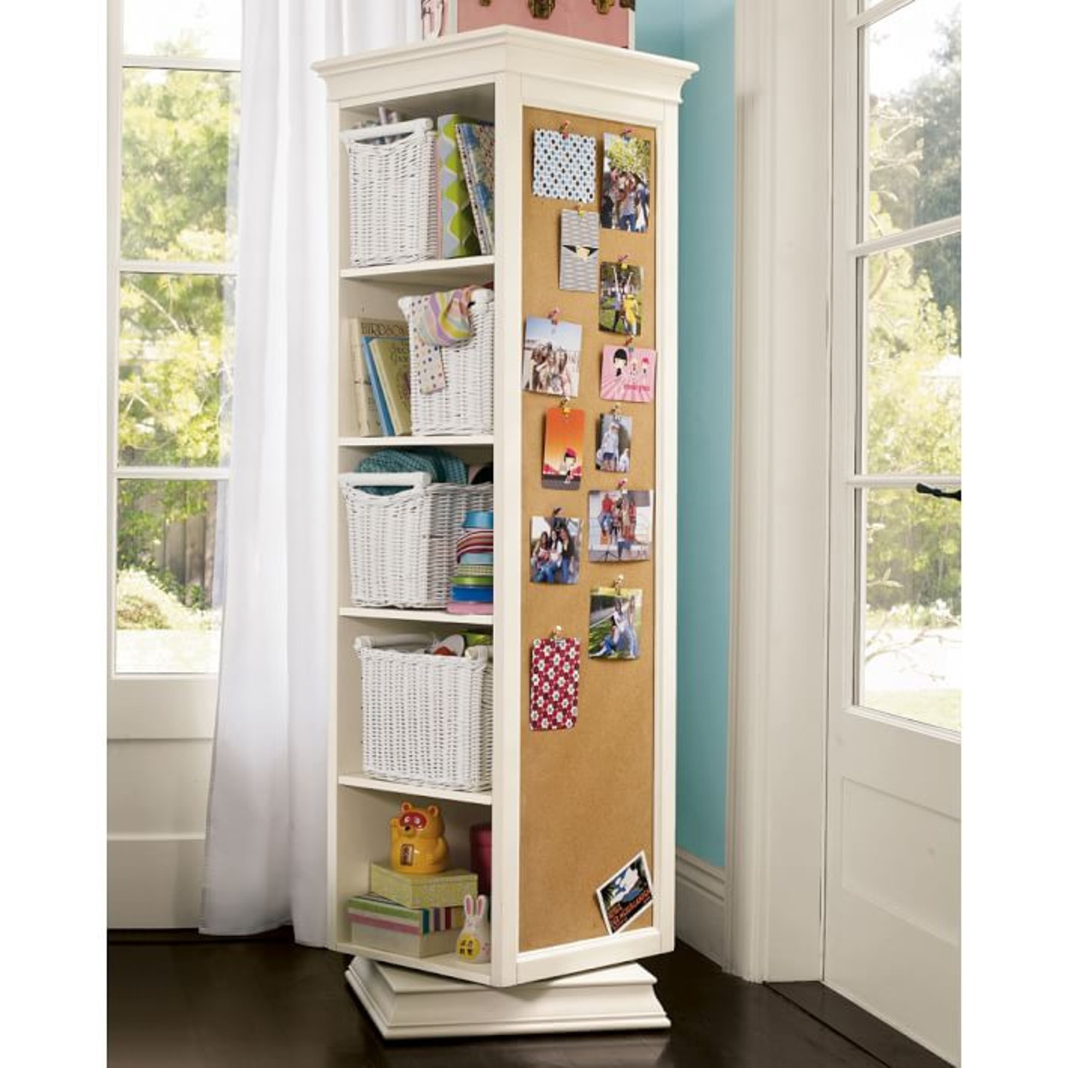 Pottery Barn Display-It Rotating Bookcase w/Mirror - image-1