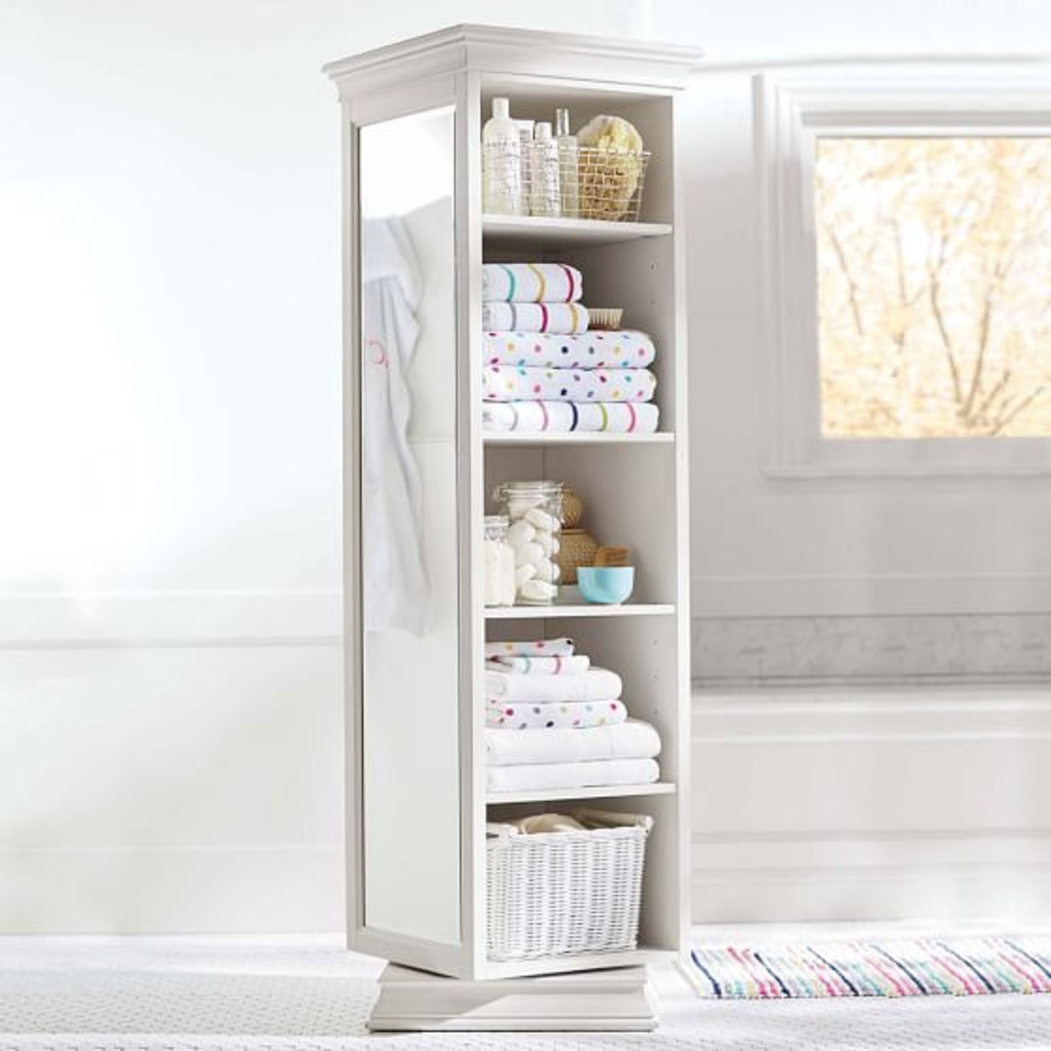 Pottery Barn Display-It Rotating Bookcase w/Mirror - image-2