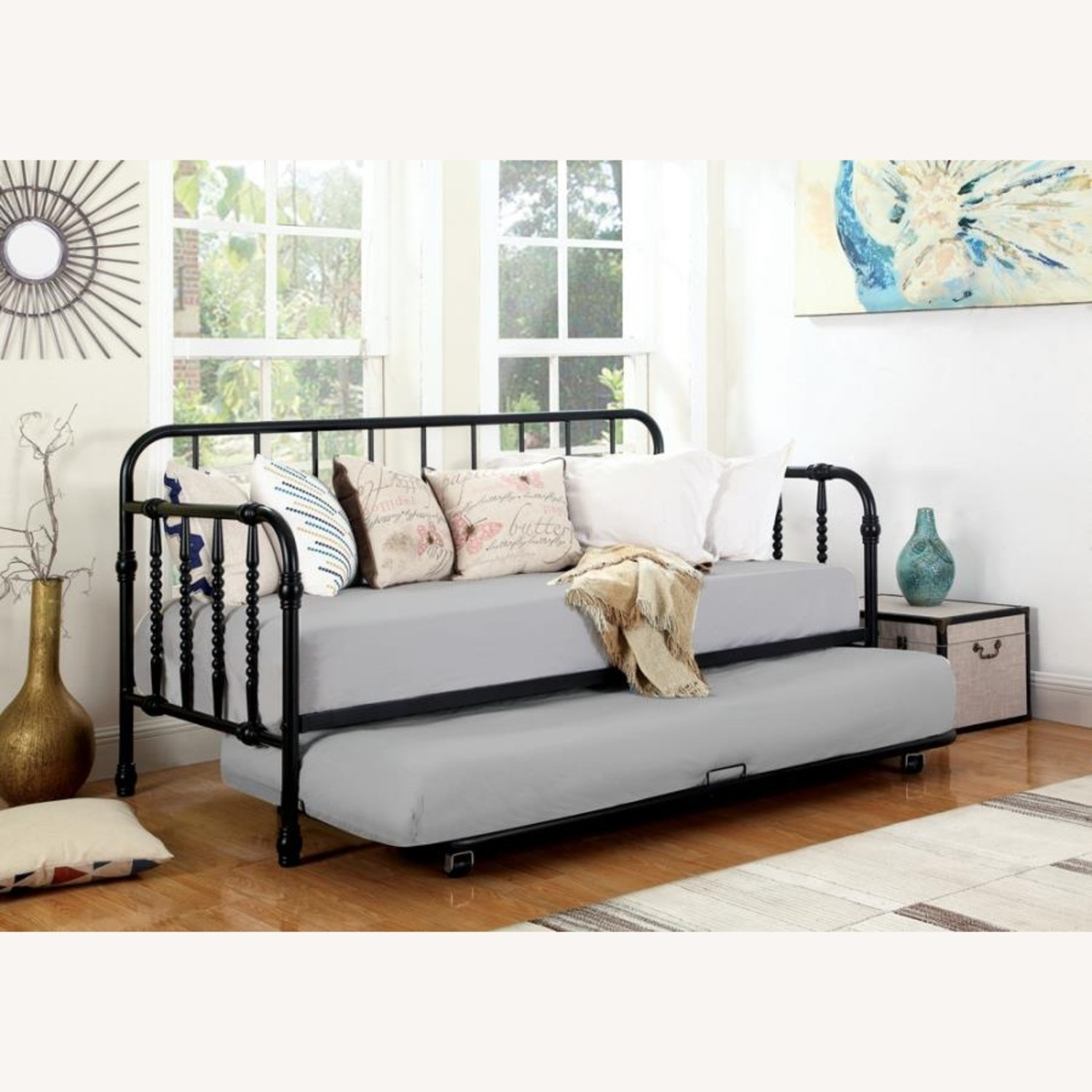 Twin Daybed In Black Metal Finish W/ Trundle - image-4