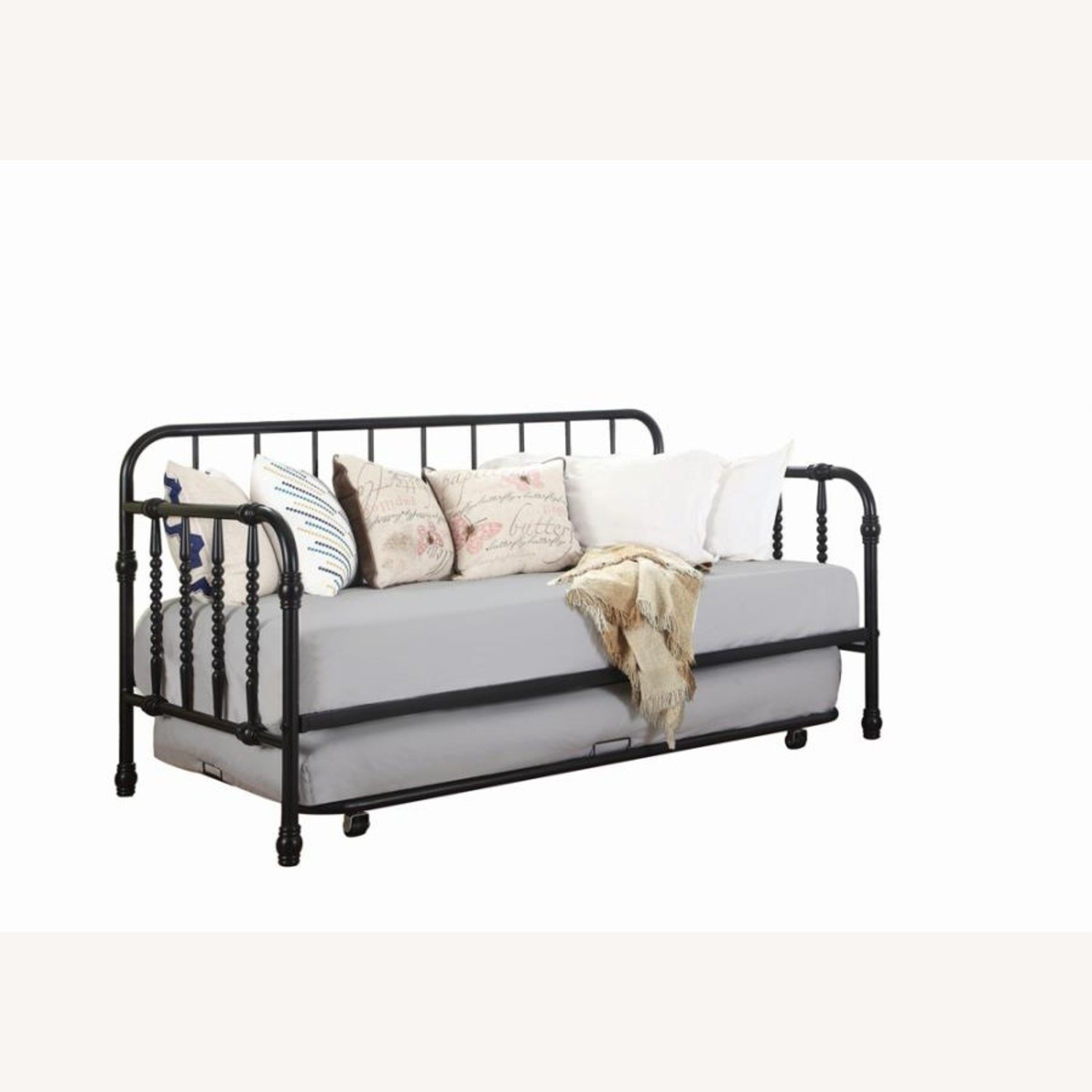 Twin Daybed In Black Metal Finish W/ Trundle - image-0