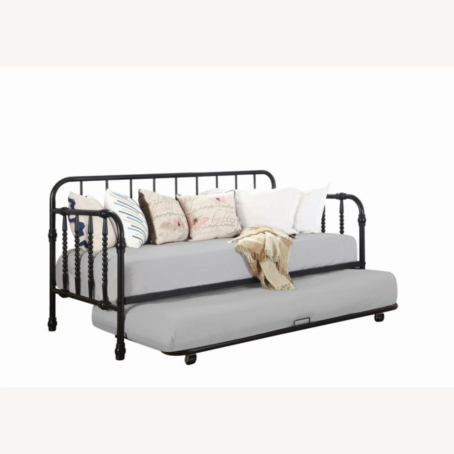 Twin Daybed In Black Metal Finish W/ Trundle - image-1