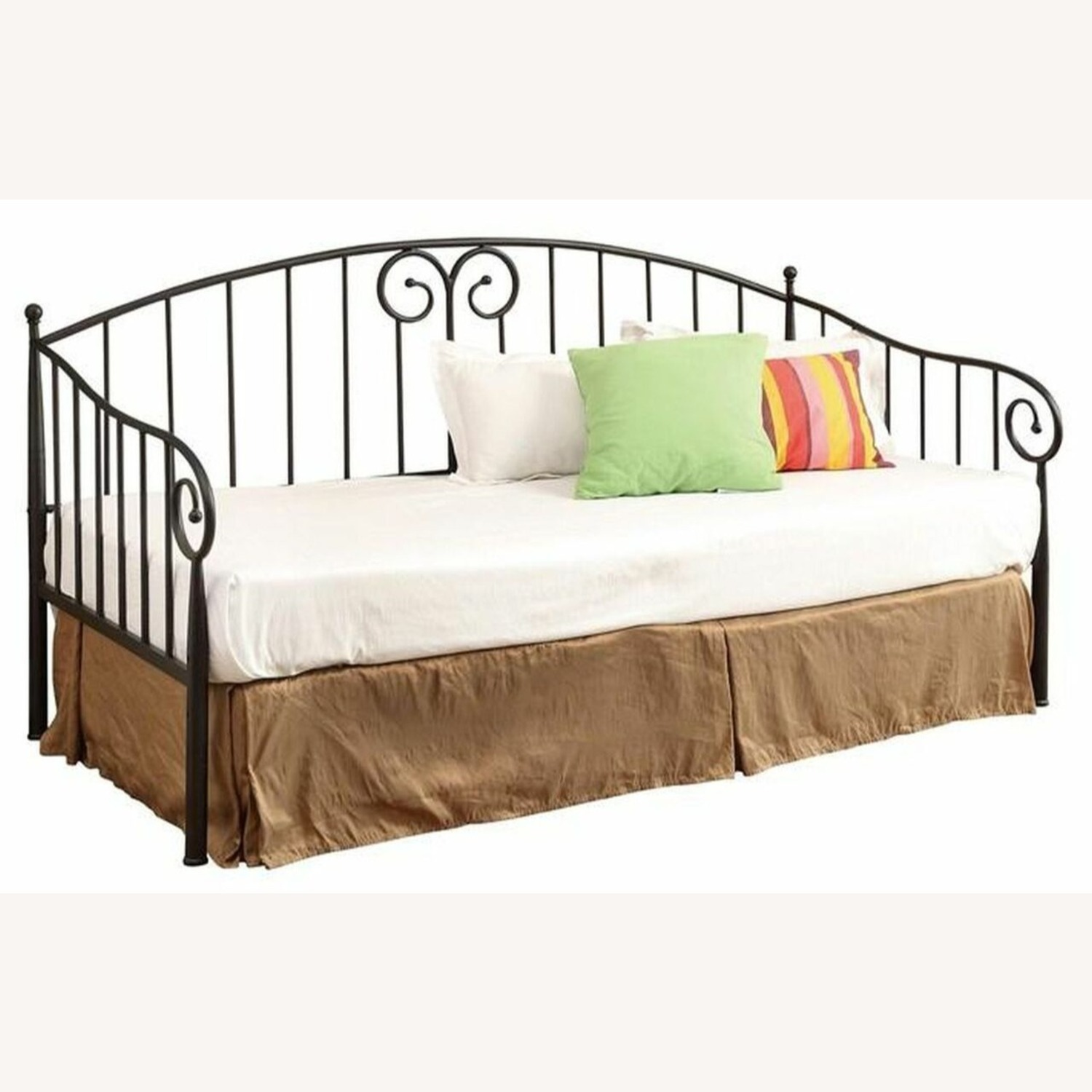Twin Daybed In Black Finish W/ Sloped Rail Design - image-1