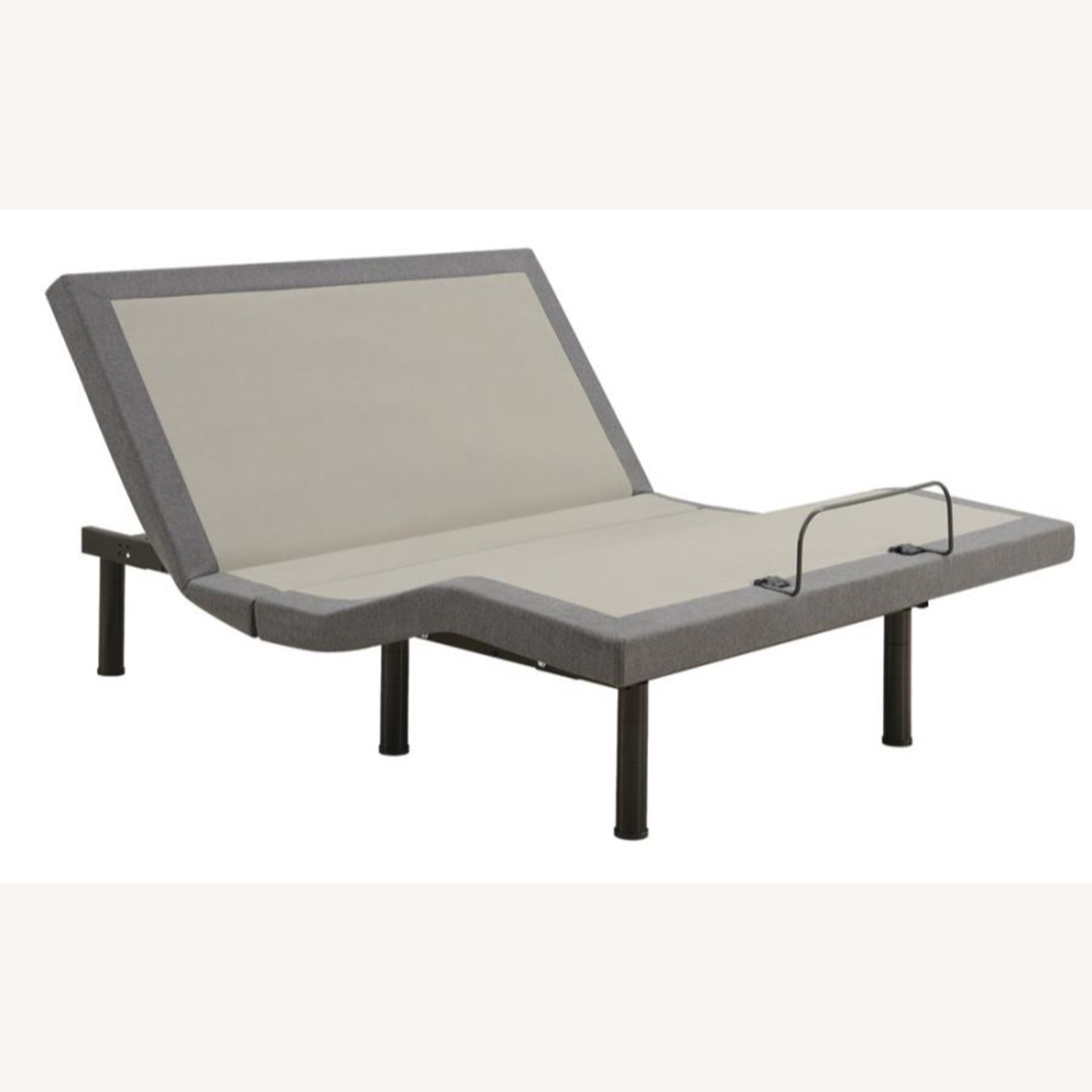 Queen Adjustable Bed Base In Grey Fabric Finish - image-1