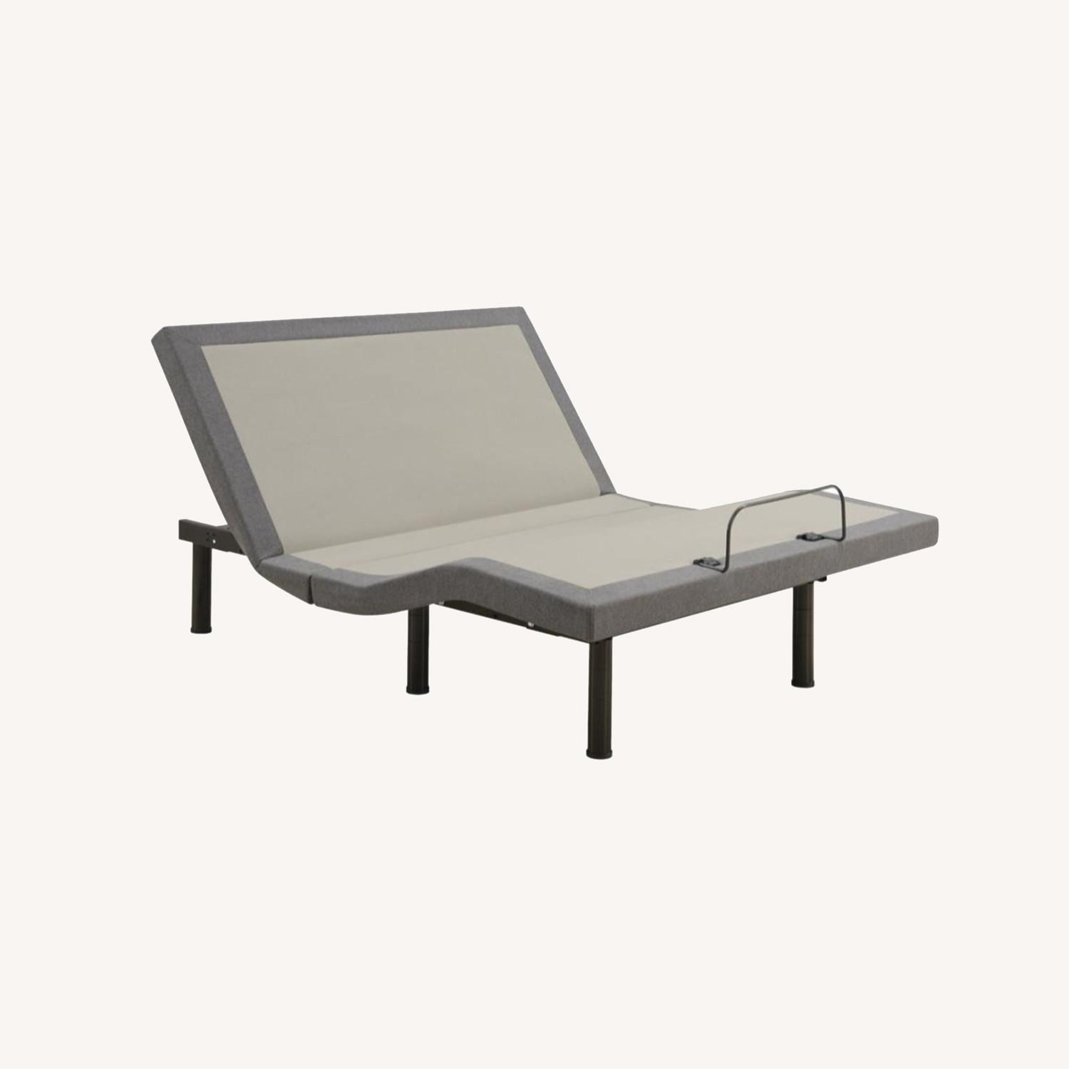 Queen Adjustable Bed Base In Grey Fabric Finish - image-16