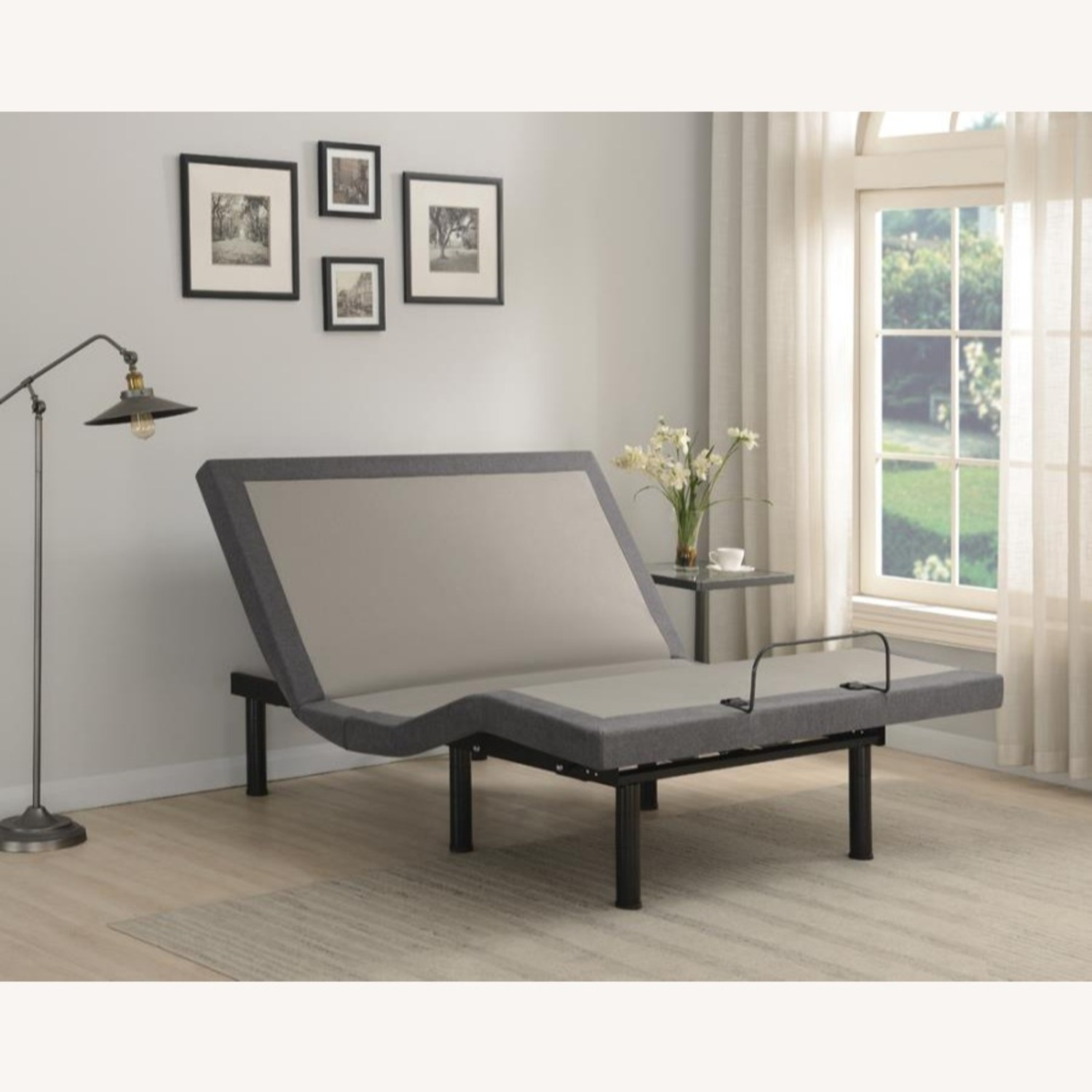 Queen Adjustable Bed Base In Grey Fabric Finish - image-14