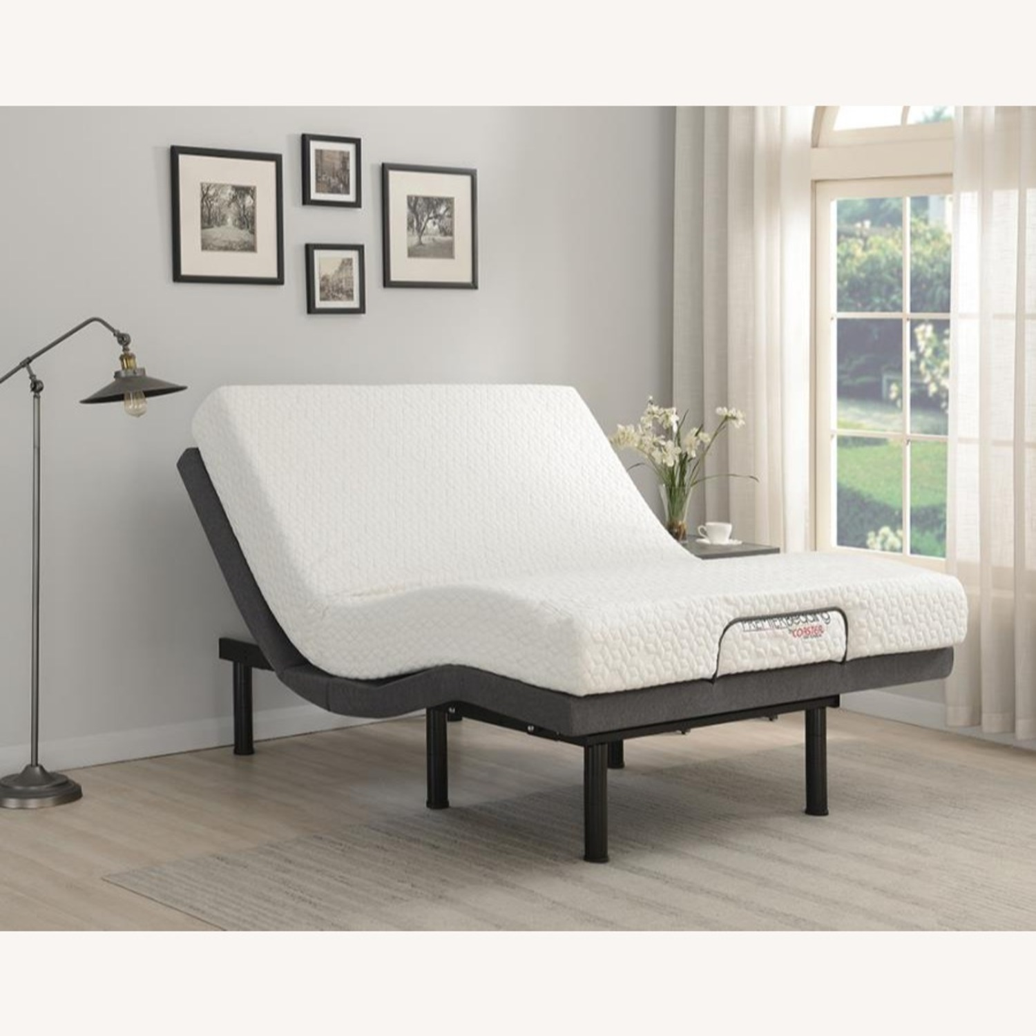 Twin XL Adjustable Bed Base In Grey Fabric Finish - image-14