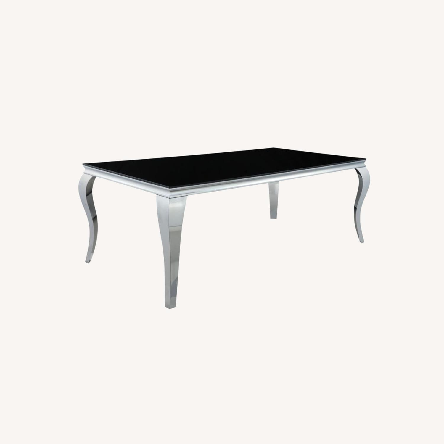 Dining Table In Chrome Finish W/ Black Top - image-5