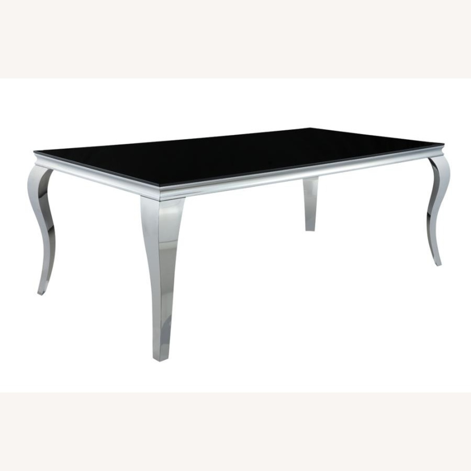Dining Table In Chrome Finish W/ Black Top - image-0