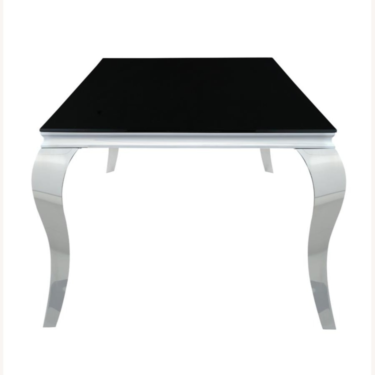 Dining Table In Chrome Finish W/ Black Top - image-2