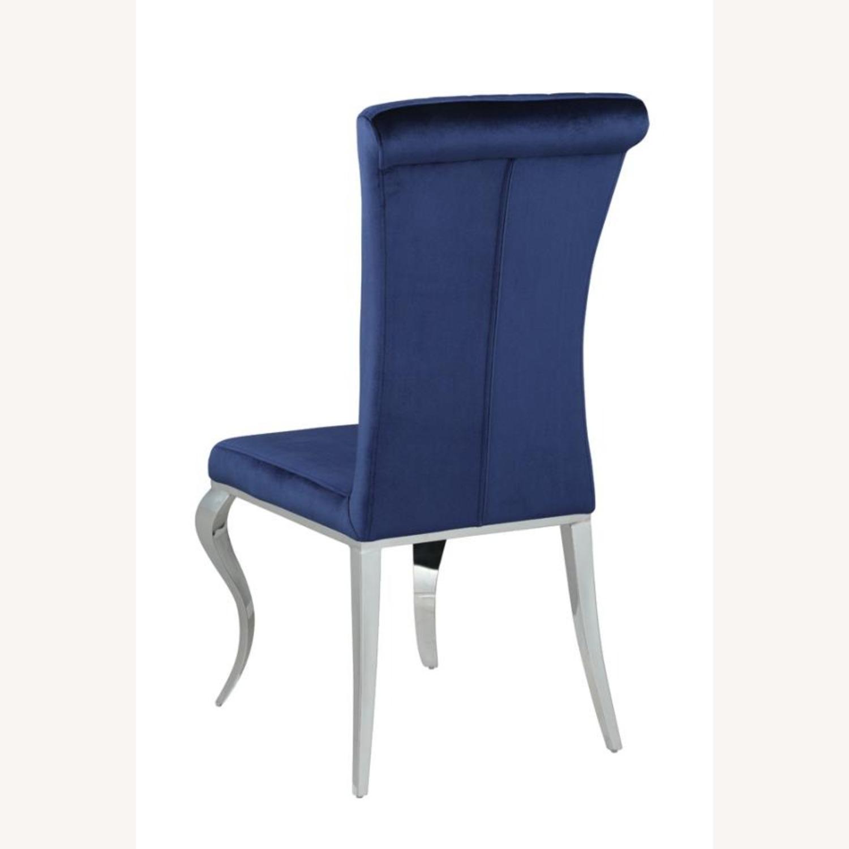 Dining Chair Upholstered In Ink Blue Velvet Finish - image-4