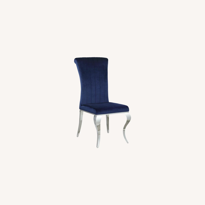 Dining Chair Upholstered In Ink Blue Velvet Finish - image-7