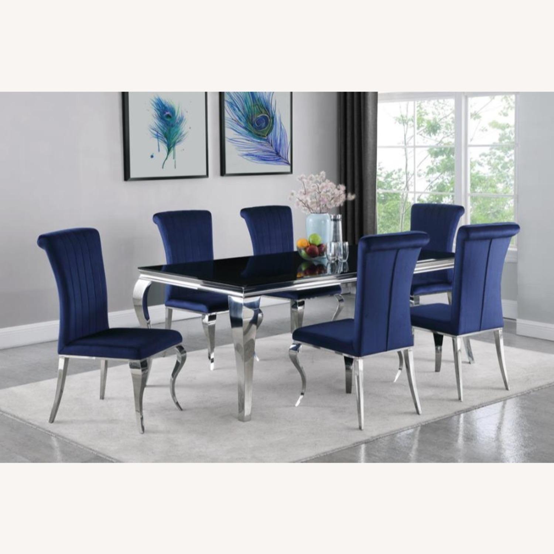 Dining Chair Upholstered In Ink Blue Velvet Finish - image-5