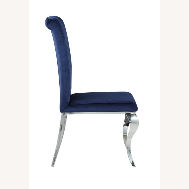 Dining Chair Upholstered In Ink Blue Velvet Finish - image-3