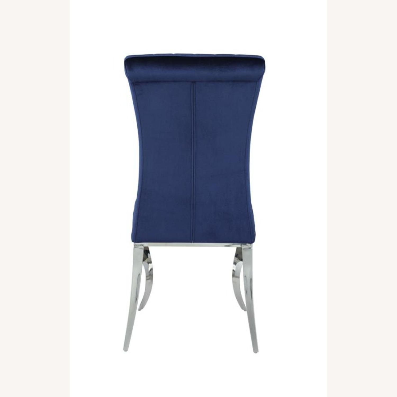 Dining Chair Upholstered In Ink Blue Velvet Finish - image-2