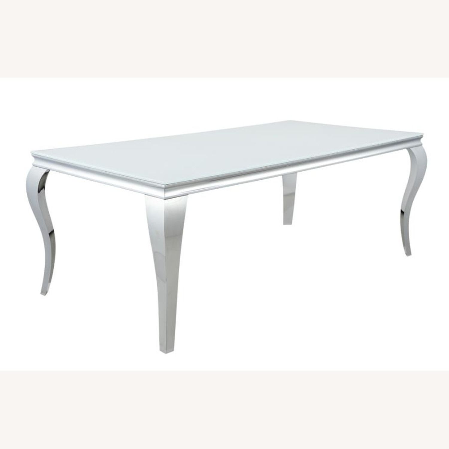 Dining Table In Chrome Base Finish W/ White Top - image-0