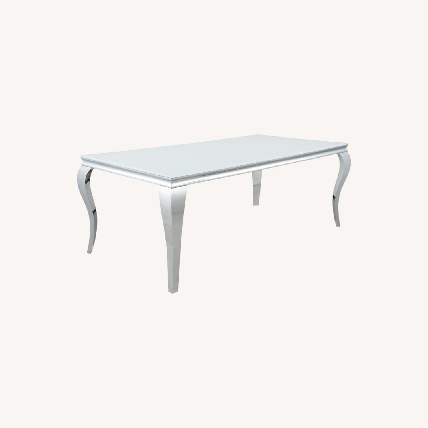 Dining Table In Chrome Base Finish W/ White Top - image-5