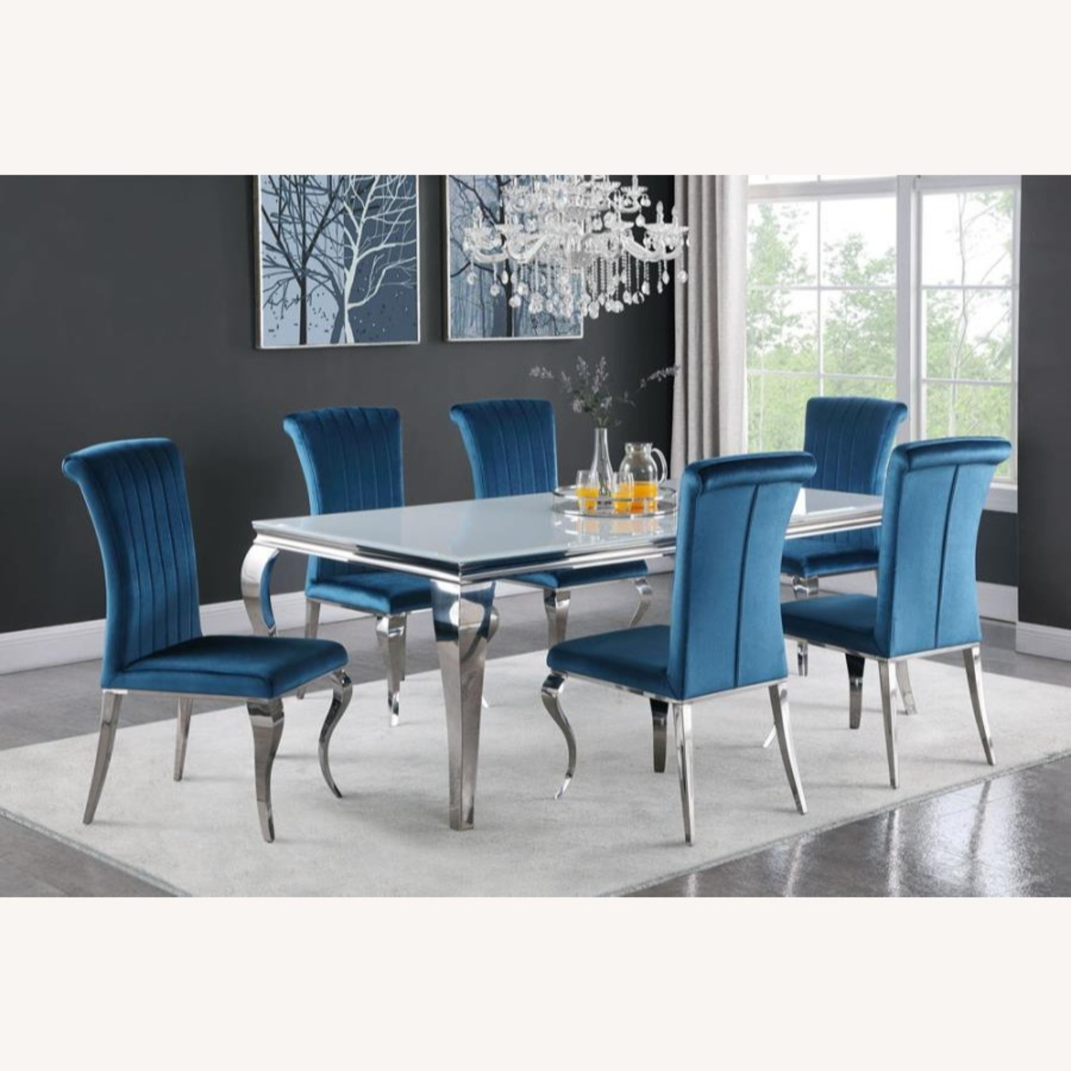 Dining Table In Chrome Base Finish W/ White Top - image-3