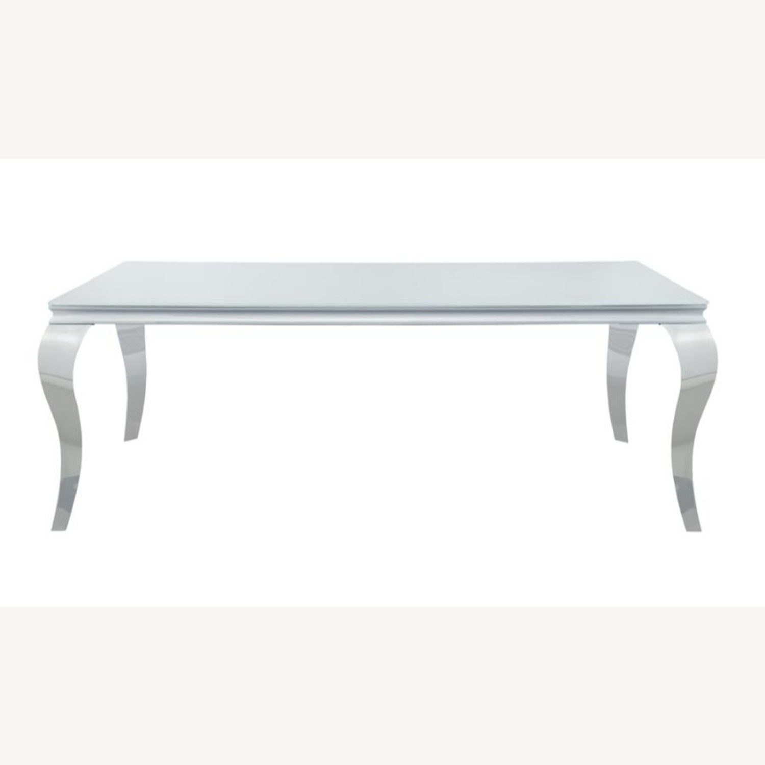 Dining Table In Chrome Base Finish W/ White Top - image-1
